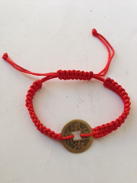 Feng Shui Red String Bracelet With Chinese Coin For Good Fortune And Wealth Luck Ebay