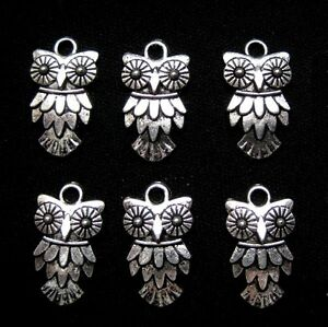 Owl-Charms-Antiqued-Silver-Pendants-20mm-Jewelry-Lot-of-6