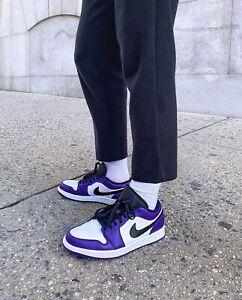 Details about Nike Air Jordan 1 Low Court Purple 2020   Size UK8.5 US9.5 EU43   White AJ1