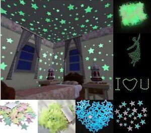 100er aufkleber leuchtende sterne nachtleuchtende schlafzimmer dekor wandtattoo ebay - Leuchtende wandtattoos ...
