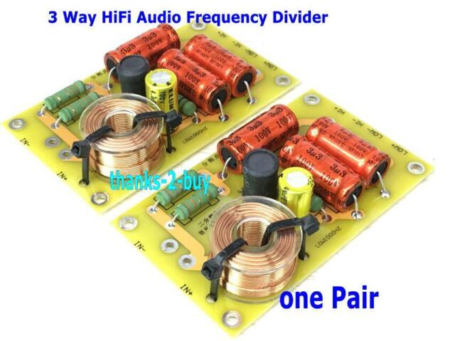 2x Multi Speaker 3 Way HiFi Audio Frequency Divider Crossover Filters Power 250W