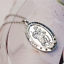 Saint-St-Christopher-Medal-Protect-Us-Oval-Silver-Plated-Pendant-Necklace miniature 3