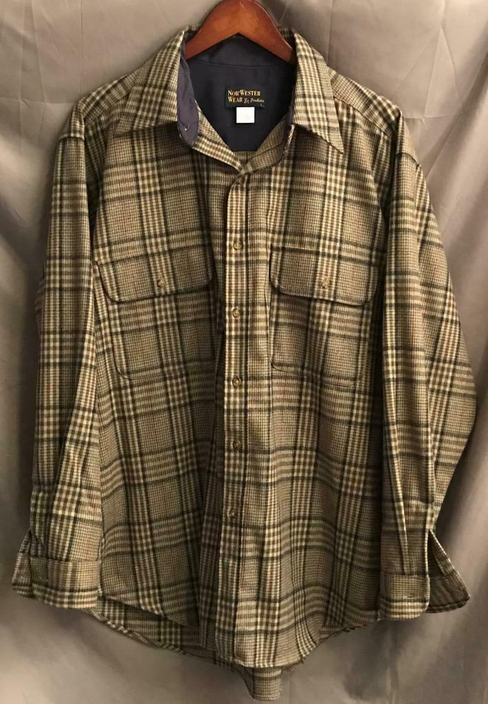 Pendleton Men's LARGE Made In MX Wool Blend BF LS Nor'Wester Casual Shirt EUC