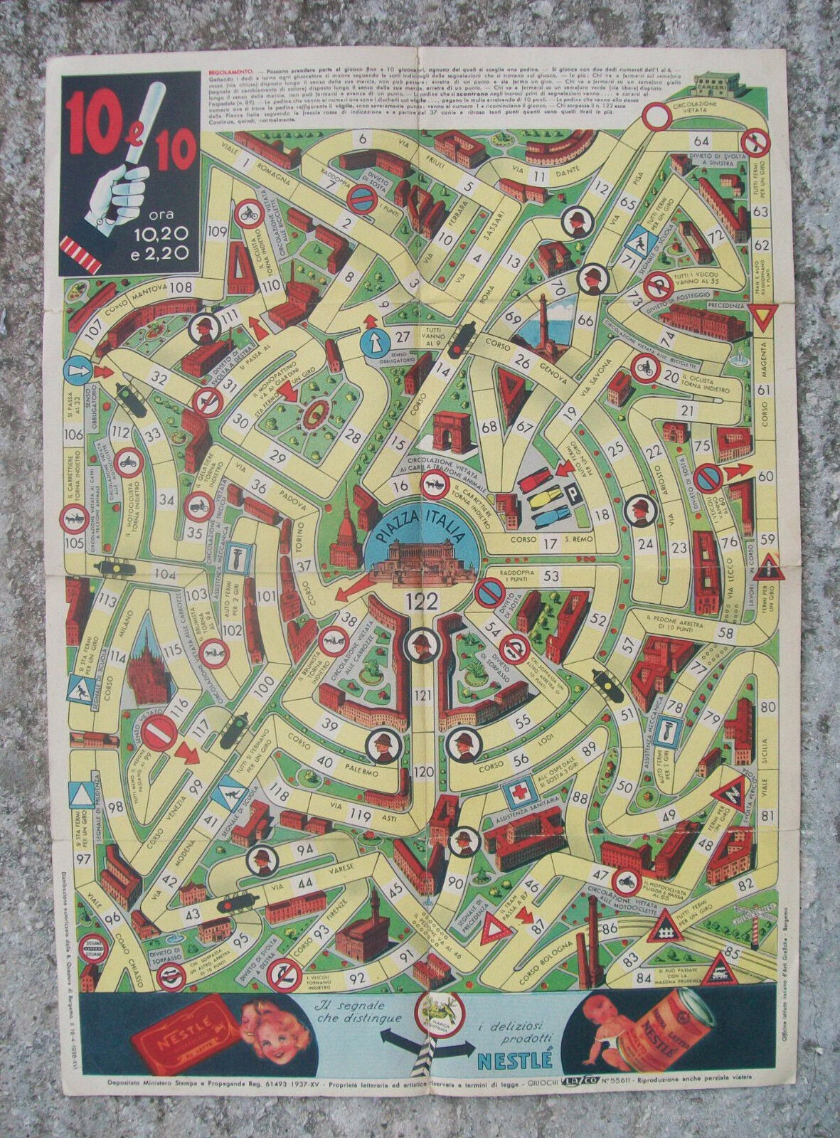 10 e 10 GIOCO DELL'OCA Omaggio della Società Nestle'  Milano - 1938  prezzo all'ingrosso