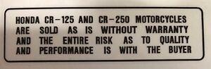 "HONDA CR80 CR125 CR250 CR500 /""WARNING OPERATOR ONLY/"" CAUTION WARNING DECAL"