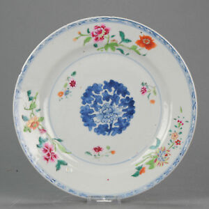 Antique-Chinese-18C-Qianlong-Famille-Rose-Plate-Flowers
