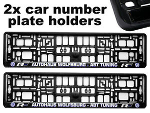 2x-Doming-CAR-Number-Plate-Surround-Holder-Frames-BEST-FIT-ABT-for-VW-VOLKSWAGEN