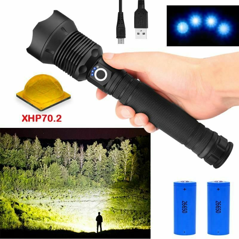 50000 Lumens Most Powerful LED flashlight XLamp Xhp70.2 Usb Zoom Torch Tactical