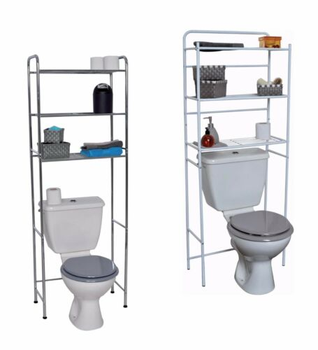 Evideco Over the Toilet Space Saver Cabinet  3 Tier Wire Shelves White or Chrome