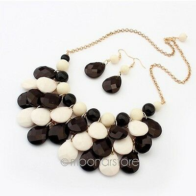 Fashion Retro Women Crystal Chunky Statement Bib Pendant Chain Choker Necklace N