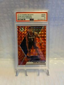 PSA 9 2019 Panini Mosaic 209 Zion Williamson Reactive Orange Prizm RC Rookie