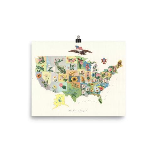 Vintage US State Flower /& Botanical Map Poster