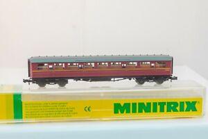 Minitrix-13116-N-Gauge-Gresley-Corridor-3rd-class-coach-BR-Maroon