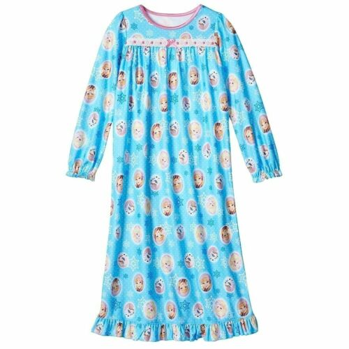 Disney Frozen Anna Elsa Olaf Long Sleeve Nightgown Pajama Girl Size 8