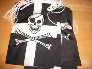 CORNISH CORNWALL PIRATE BUNTING 10 METRES INC STRING 20 FLAGS X 12034 X  8034 BNIP - <span itemprop='availableAtOrFrom'>WEST SUSSEX, United Kingdom</span> - CORNISH CORNWALL PIRATE BUNTING 10 METRES INC STRING 20 FLAGS X 12034 X  8034 BNIP - WEST SUSSEX, United Kingdom