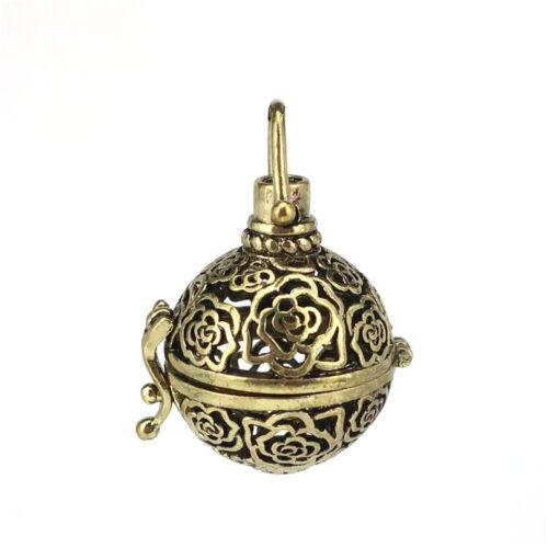 1PC bronze rose perles cage Médaillon Pendentif huiles essentielles Diffuseur B250