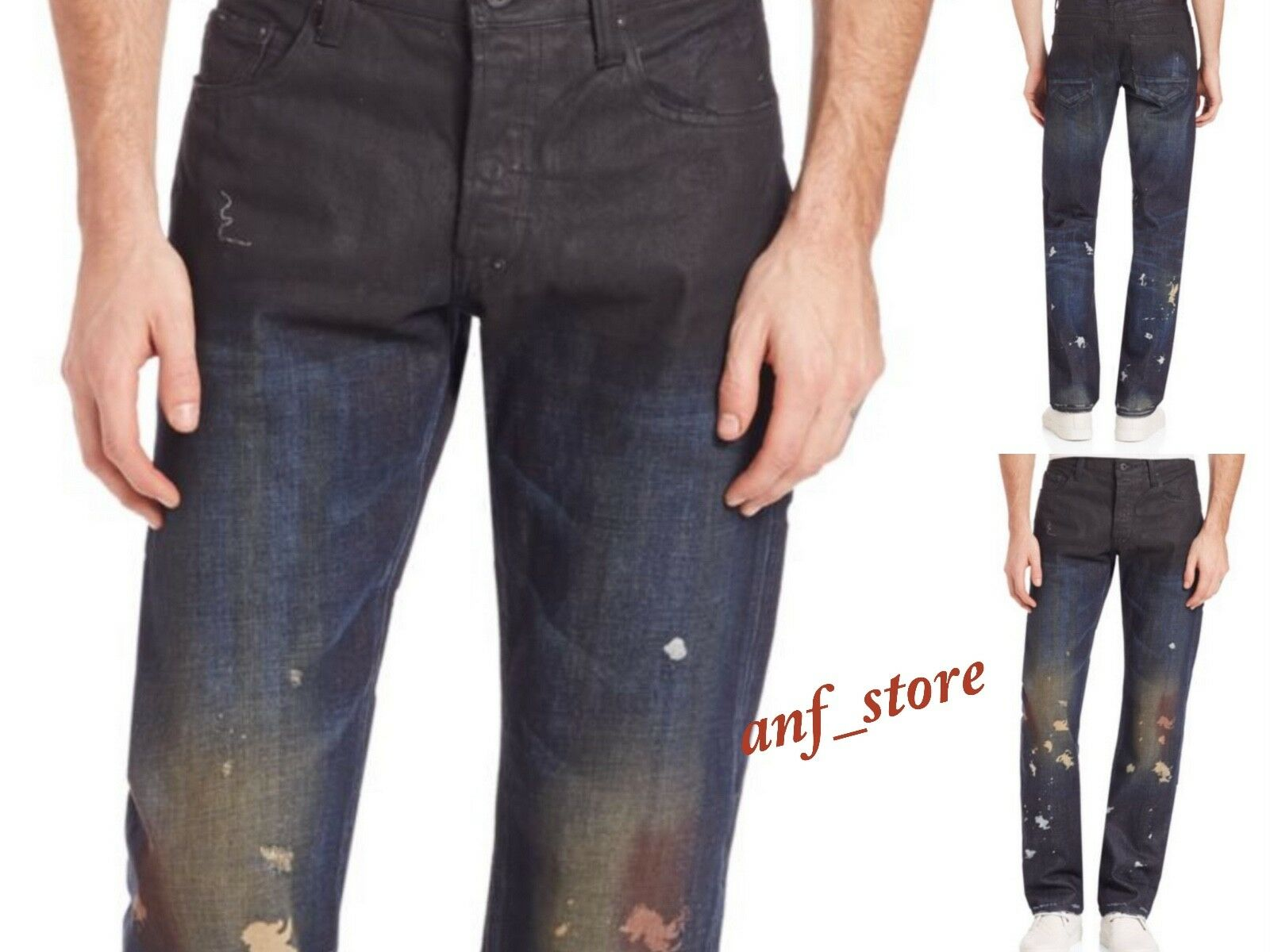 NWT PRPS Goods Co JAPAN Barracuda Straight Men PAINT Splatter Jeans 32 x 32