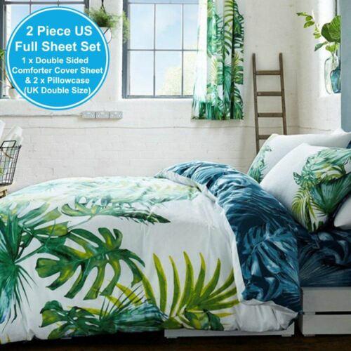 Botanisch Palme Blätter Doppel Bettbezug /& Kissenbezug Set Wende