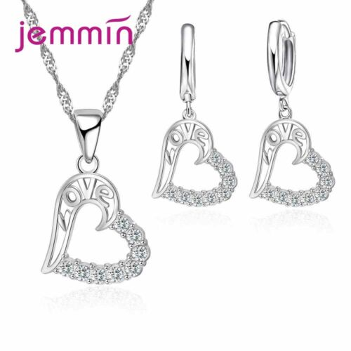 Best Wedding Jewelry Sets Austrian Crystal Heart Necklace Earrings Women Gifts
