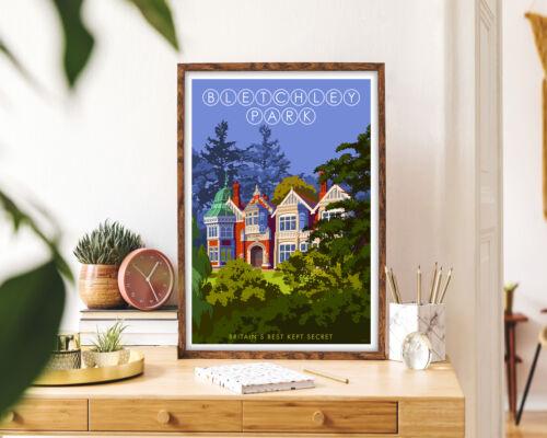 Bletchley Park Framed Wall Art Vintage Travel Poster City Art