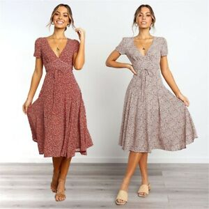 Women's Sexy Slim V Neck Dress Lady Short Sleeve Casual Print Ball Gown Dresses