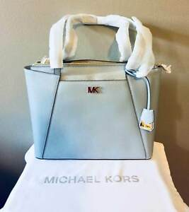 24286a5bb207 Michael Kors Maddie Medium East West Tote Pale Blue Leather Purse ...