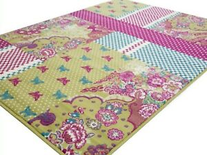MEDIUM-EXTRA-LARGE-PINK-GREEN-CHIC-NOVELTY-RUG-CLEARANCE-LTD-STOCK