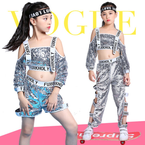 Fashion Street Dance Wear Costume Performance Sequins Modern Hip Hop Clothes
