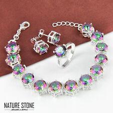 3pcs 1 Lot Rainbow Mystic Topaz Gems Silver Bracelet & Ring & Earrings Size 7