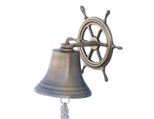 "Antiqued Brass Finish Solid Aluminum Bell 8/"" w// Ship/'s Wheel Bracket Wall Decor"