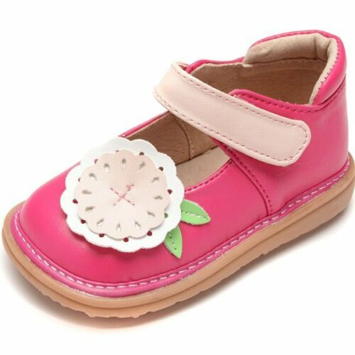 MOOSHU Trainers Squeaker Shoes NEW Sz 3-9 Mary Jane Hot Pink Flower