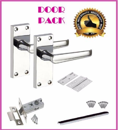 1 x FULL DOOR PACK'VICTORIAN' CHROME STRAIGHT Lever Latch Door Handle D1