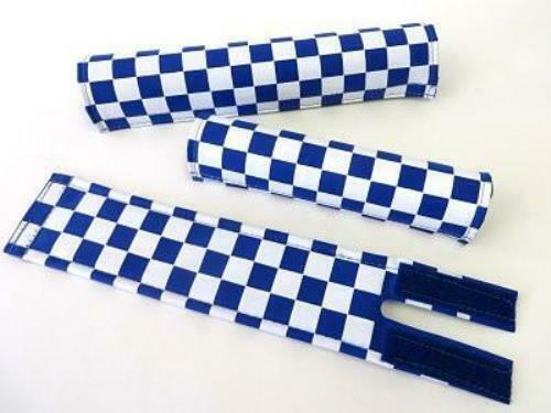 Blue and White Classic Checkers BMX Pads and Sets
