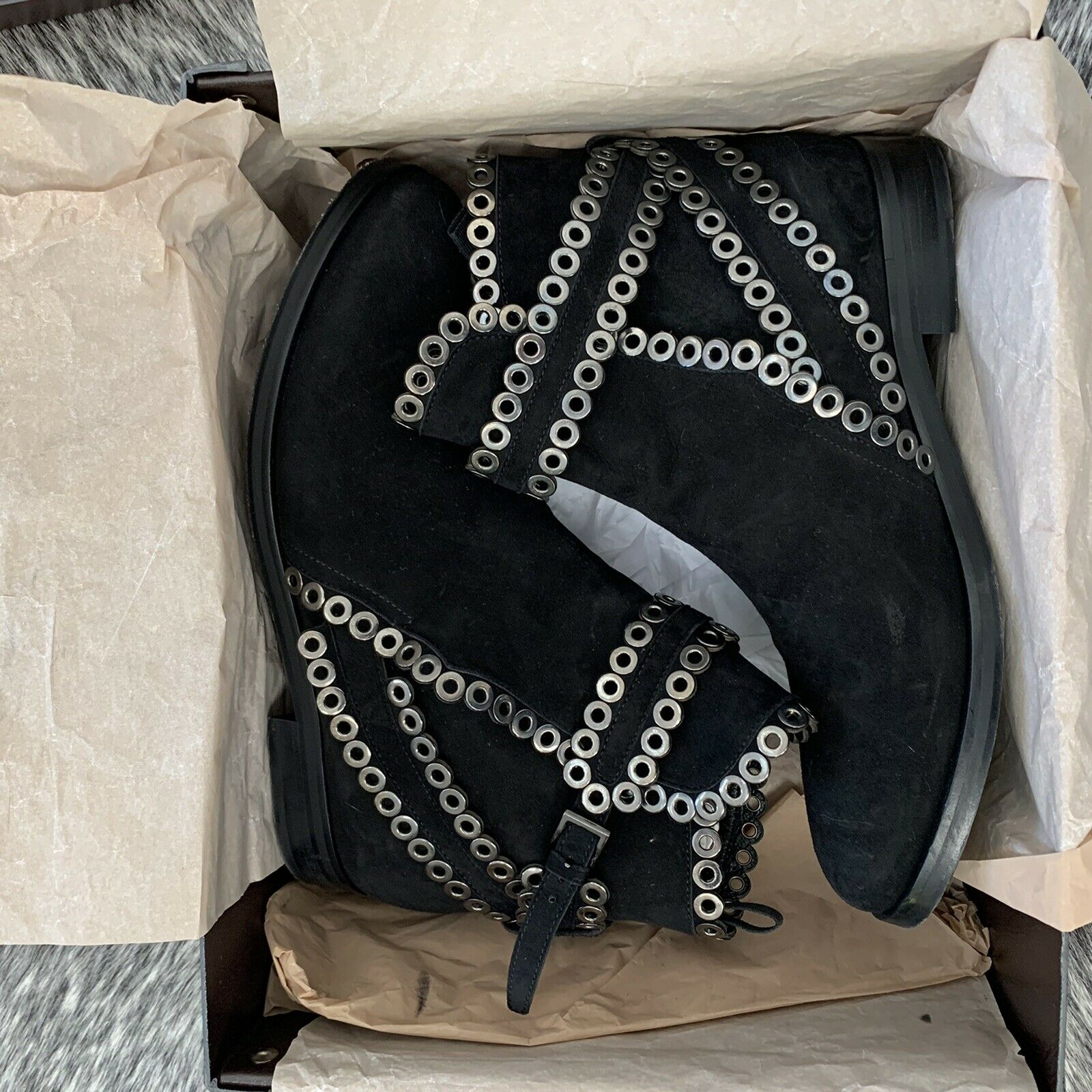 AZZEDINE ALAIA Black Suede Grommet Ankle Boots Si… - image 5