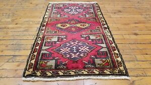 """Vintage 1950-1960s Beautiful 1'10×3'2""""wool Pile Natural Dyes Tribal Rug Pure Whiteness Antiques"""