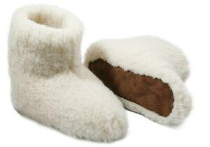 WOMEN 100/% MERINO SHEEP WOOL BOOT STYLE SLIPPERS,NON-SLIP SOLE,WHITE,UK Size3-7.