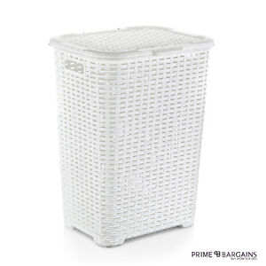 45L-Large-Plastic-Laundry-Basket-Rattan-Hamper-Style-Washing-Clothes-Storage-Bin