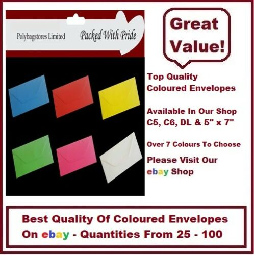 "5/"" x 7/"" COLOURED ENVELOPES CHOOSE FROM 6 COLOURS GREETING CARDS"