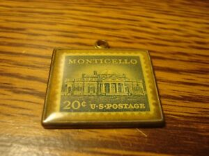 Vintage-Solid-Brass-20-CENT-Encased-U-S-Postage-Stamp-MONTICELLO-T-Jefferson