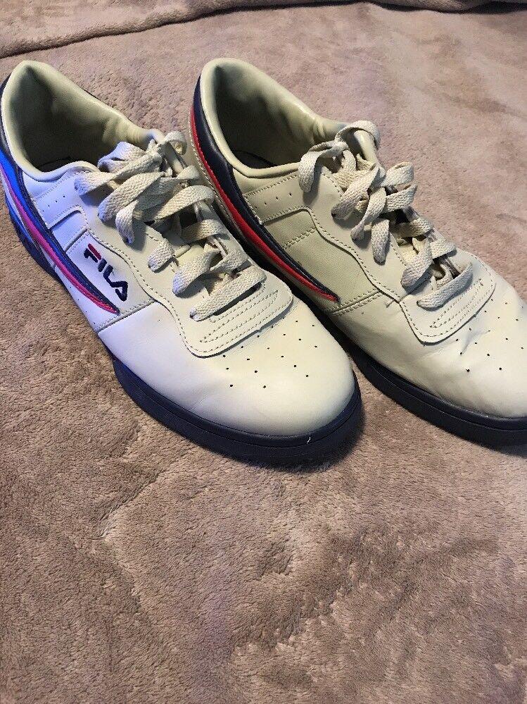 Fila T1 Low Tennis Shoe Fashion Sneaker Cream/Red/Men's Comfortable Great discount