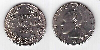 LIBERIA RARE 1$ UNC COIN 1968 YEAR KM#18a.2