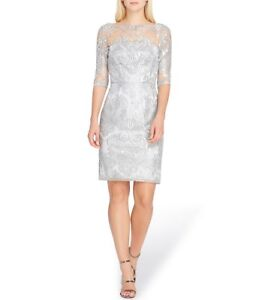 Details About Tahari Asl Sequined Illusion Lace Metallic Silver Dress 2 New 15800