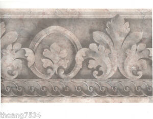 Traditional-Architectural-Grey-Silver-Acanthus-Leaf-Scroll-Wall-paper-Border