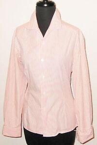 Esprit-Pink-Stripe-Long-Sleeve-38-034-Bust-Button-Front-Spandex-Shirt-Blouse