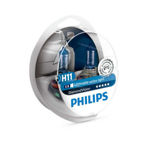2 Pack Philips H11 Diamond Vision Headlight Bulbs up to 5000K 12V55W 12362DVS2