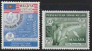 (5)MALAYSIA MALAYA FEDERATION 1958 HUMAN RIGHT SET 2V FRESH MNH.