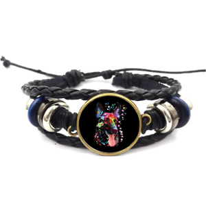 Berger Allemand Fluo Verre Cabochon Bracelet Tressé Bracelet En Cuir Bracelets