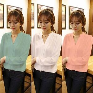 Women-Long-Sleeve-T-Shirt-V-Neck-Loose-Casual-Blouse-Chiffon-Summer-Tops-S-XXL