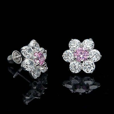 Round Simulated Diamond Cluster Stud Earrings In 14K White Gold Over 0.15 ct t.w