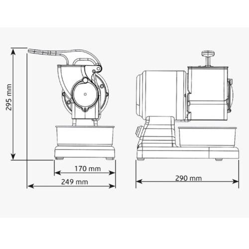 Grattugia elettrica Rgv professionale rullo acciaio stagnato 380 w vip 8 G Rotex
